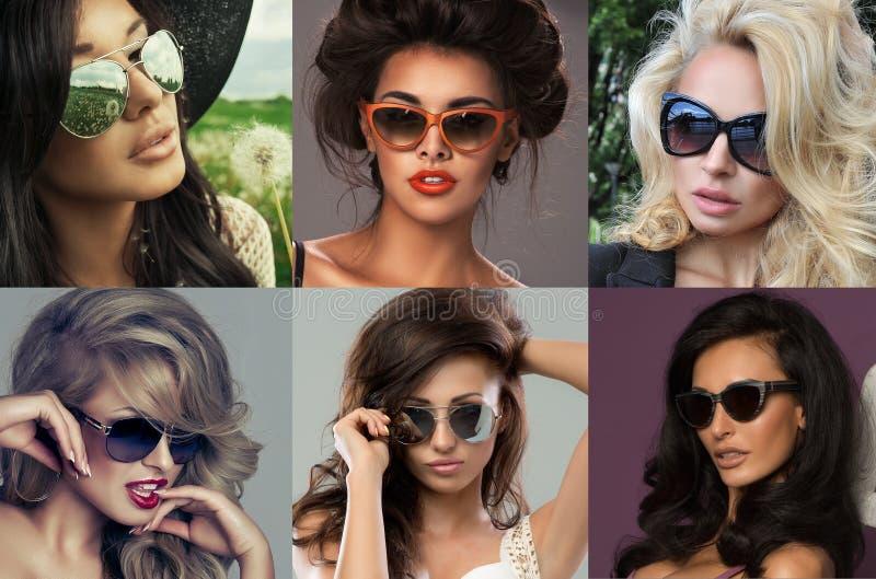 塑造一名美丽的深色的妇女的画象有太阳镜的 免版税库存照片