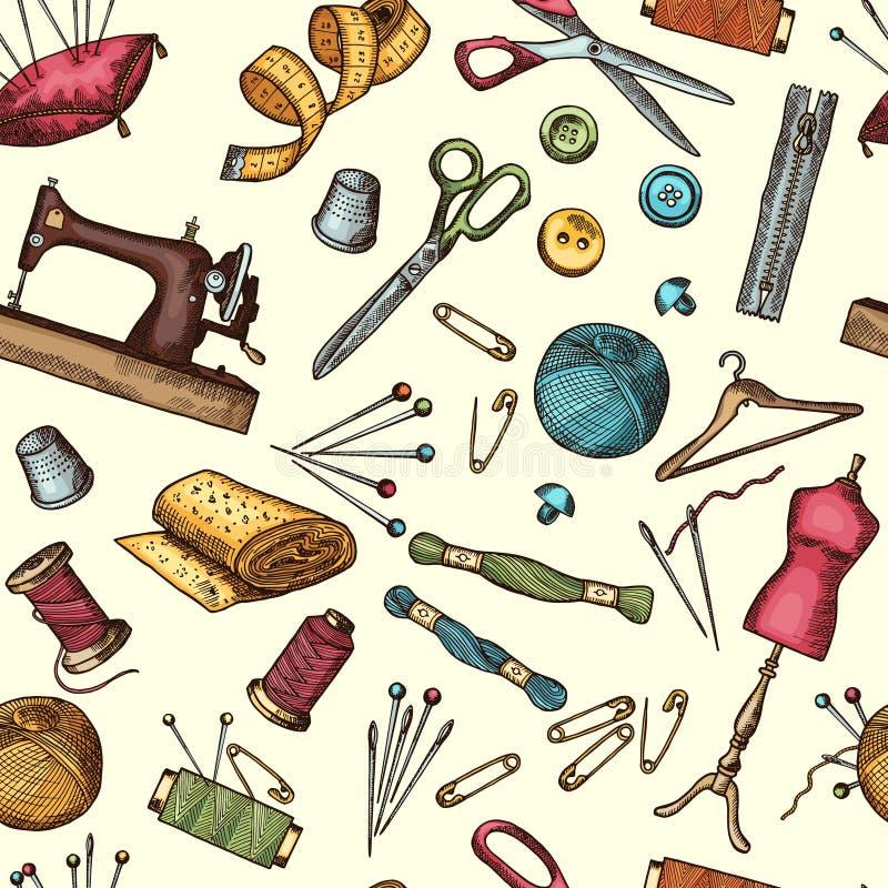 塑造与工业工具的图片的无缝的样式为针线或缝合的车间的 皇族释放例证