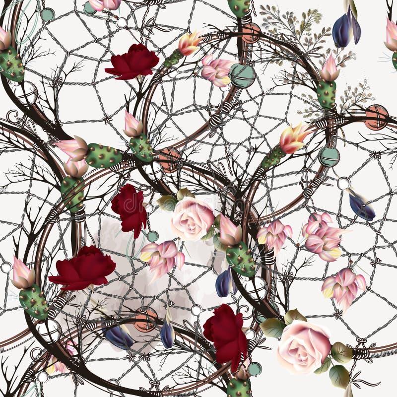 塑造与抓住梦想家、玫瑰和仙人掌花的boho样式 库存例证