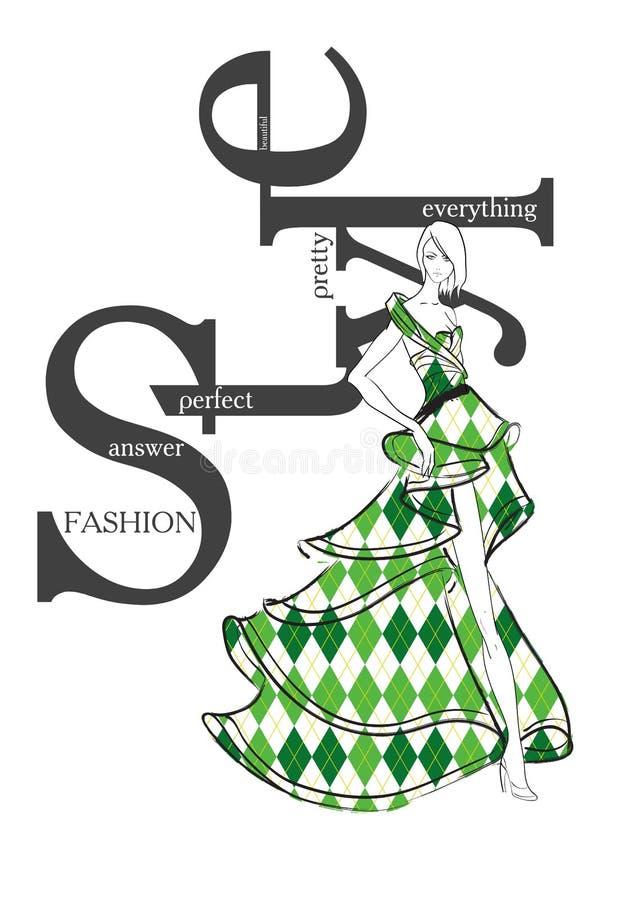 塑造与时尚妇女的行情剪影样式的 库存例证