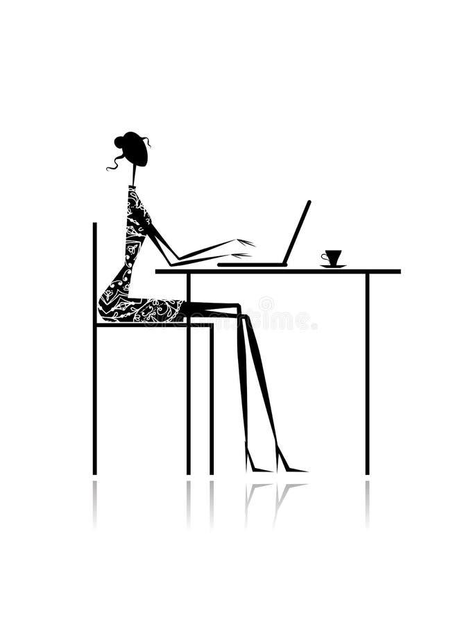 塑造与膝上型计算机的女孩剪影在咖啡馆 皇族释放例证