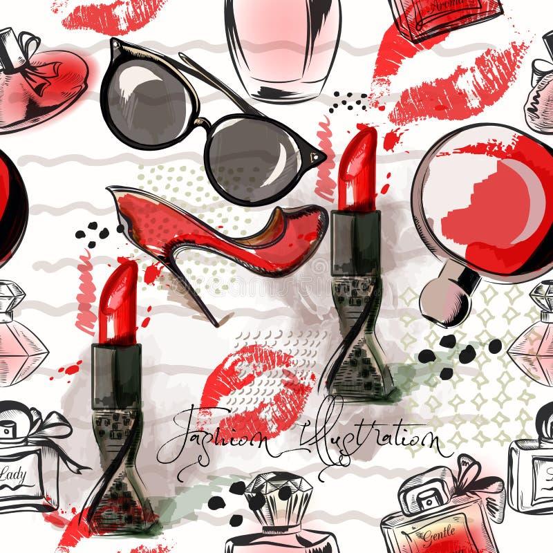 塑造例证或样式与红色唇膏,鞋子,玻璃 库存例证
