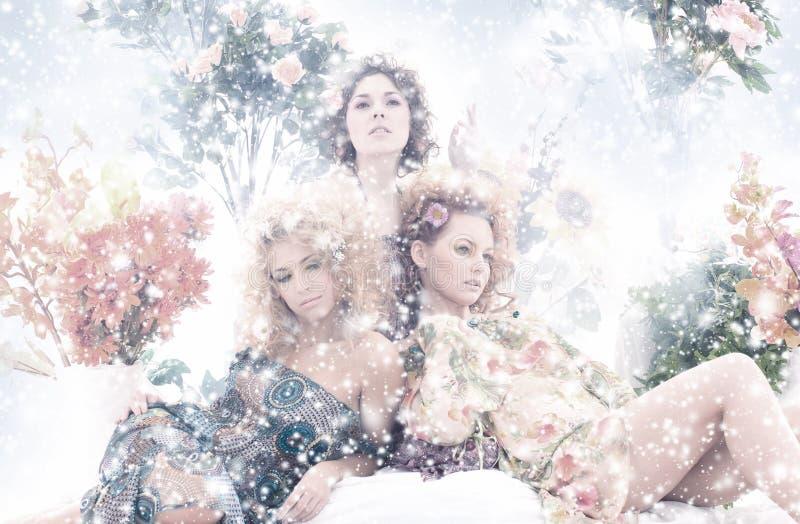 塑造可爱的妇女射击夏天衣裳的 图库摄影