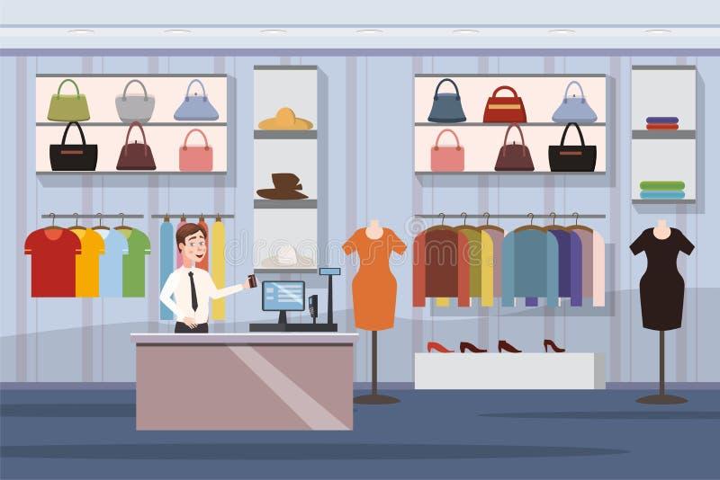 塑造商店超级市场女性服装店购物中心与拷贝空间动画片传染媒介例证的内部横幅 向量例证