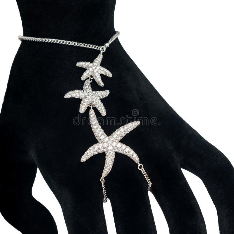 塑造在时装模特手上的银色奴隶镯子在丝毫 库存图片