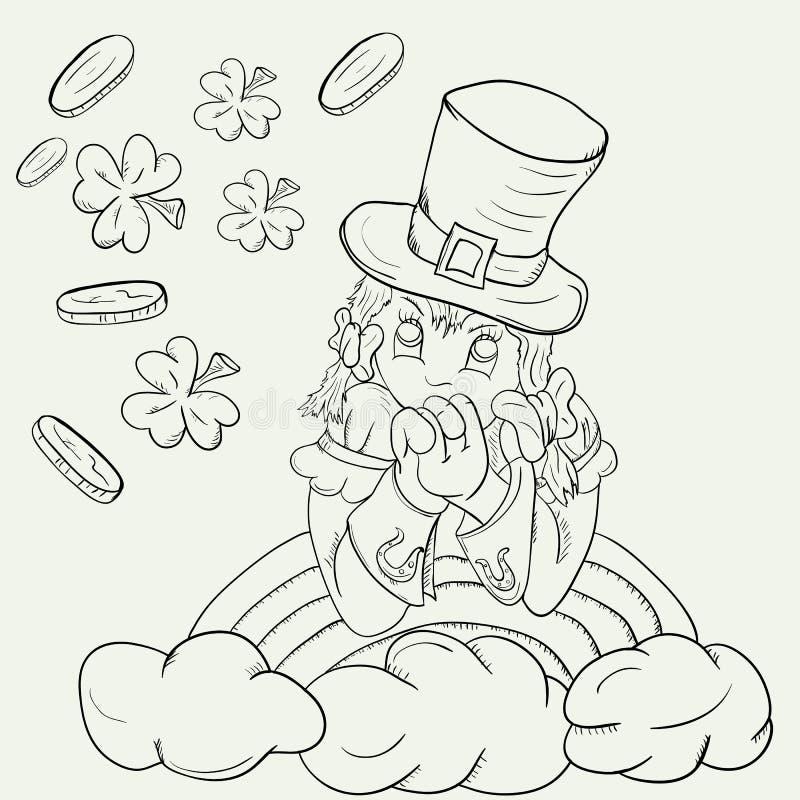 塑造外形一个女孩的剪影一套妖精服装的在彩虹wi 向量例证