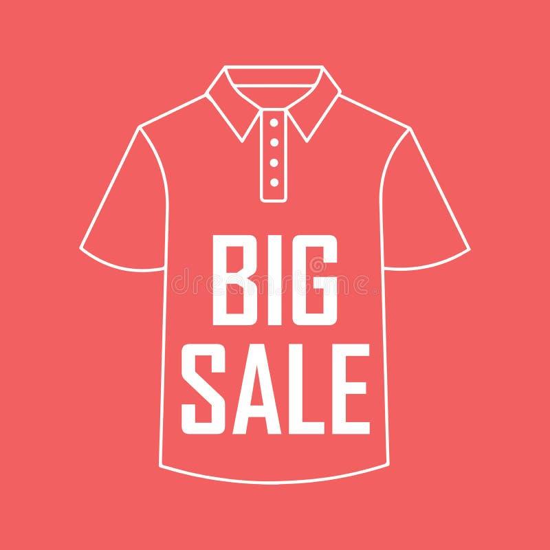 塑造外形衬衣图画在红色背景,大销售的 向量例证