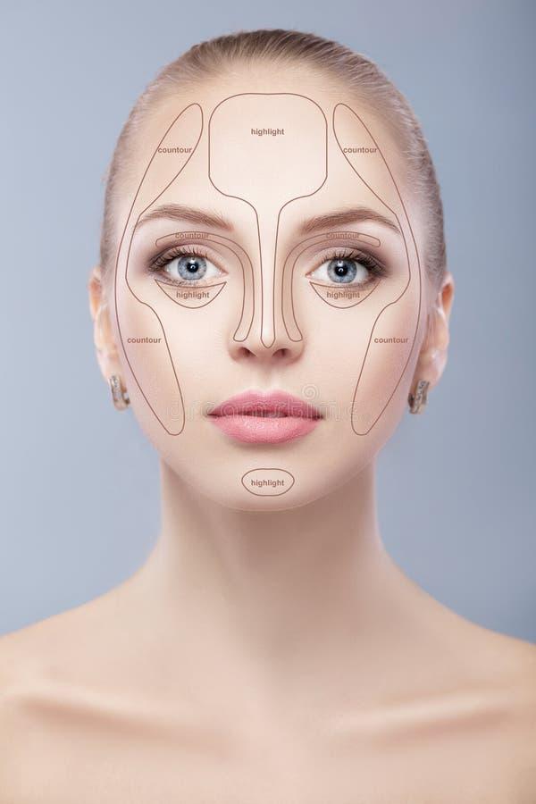 塑造外形 组成妇女面孔在灰色背景 等高和聚焦构成 库存图片