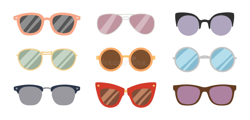 塑造太阳镜辅助太阳镜眼镜塑料框架风镜现代镜片传染媒介例证 向量例证