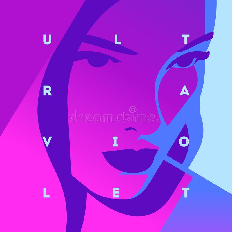 塑造式样女孩和霓虹灯的画象 紫外时髦颜色海报或飞行物 库存例证