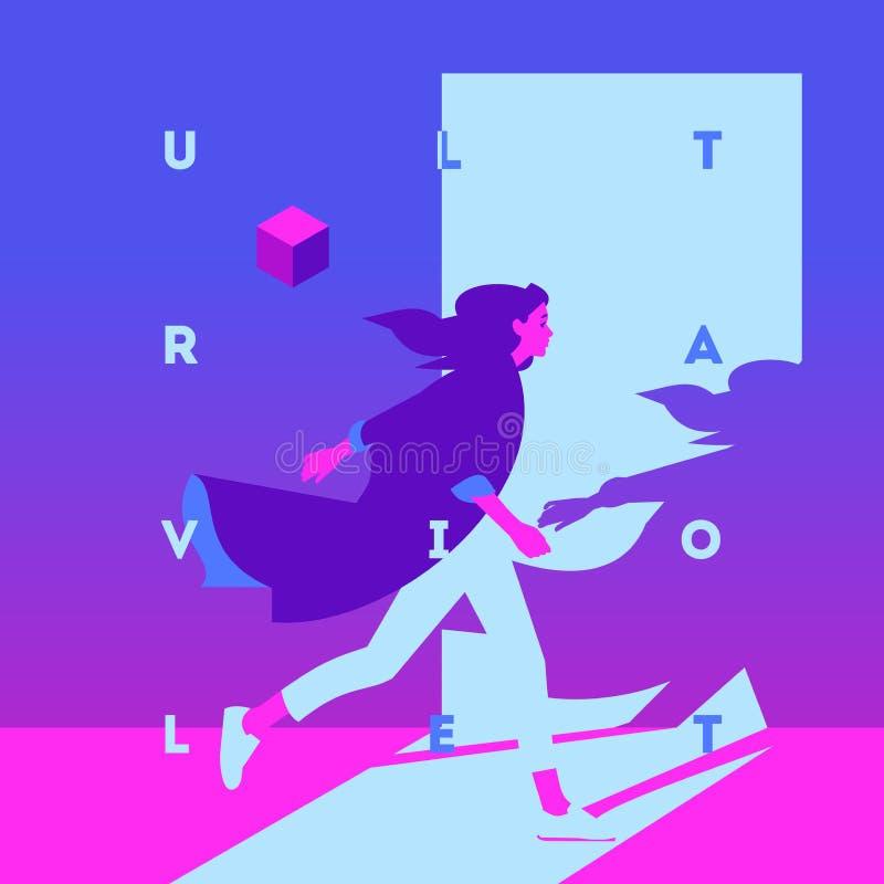 塑造式样女孩和霓虹灯的画象 紫外时髦颜色海报或飞行物 皇族释放例证