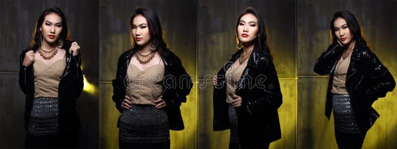 塑造有更新样式的亚裔妇女并且组成发型 库存图片
