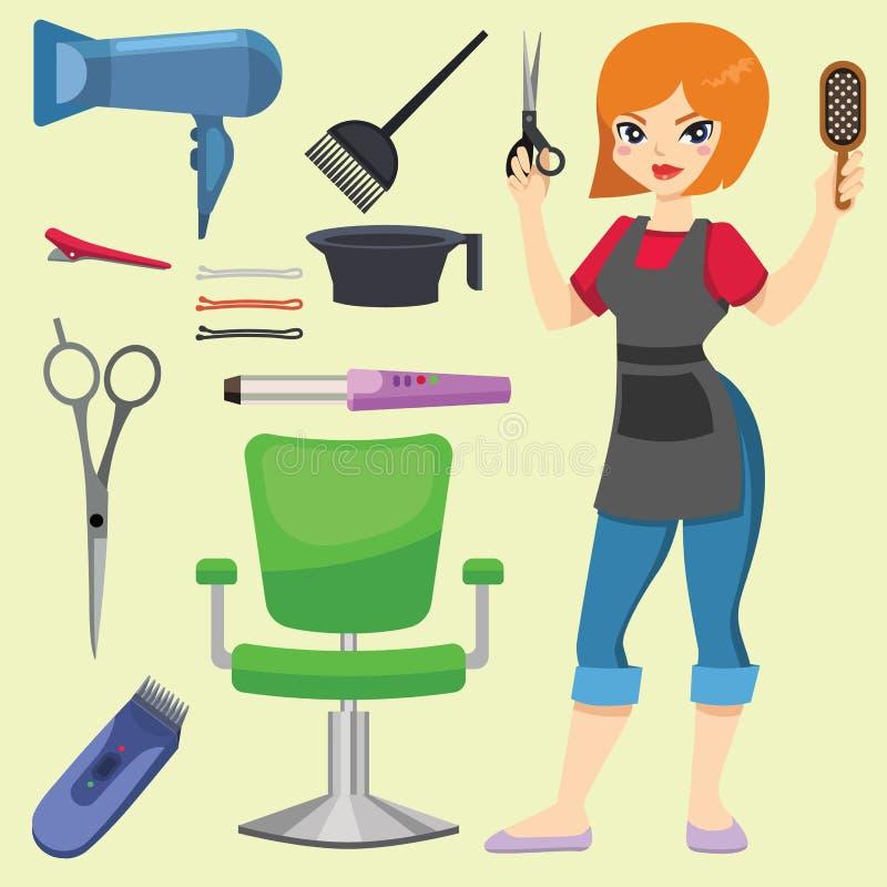 塑造有头发剪刀和发刷被隔绝的专业时髦的理发师工具的美发师为削减图片