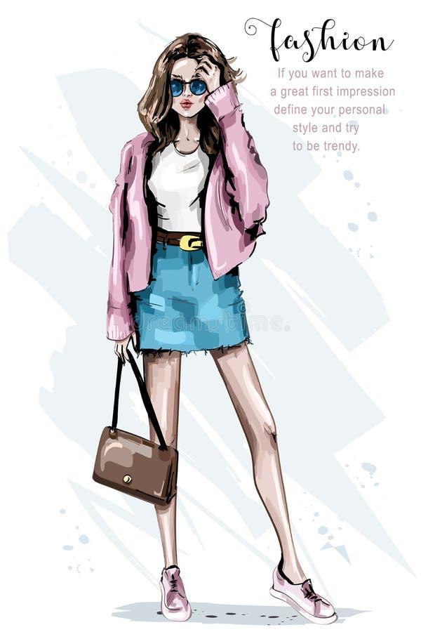 塑造查找 袋子美丽的妇女年轻人 时髦的太阳镜妇女 草图 库存例证