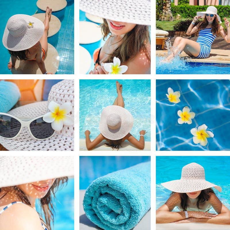 塑造照片拼贴画在海滩的题材暑假 免版税库存图片
