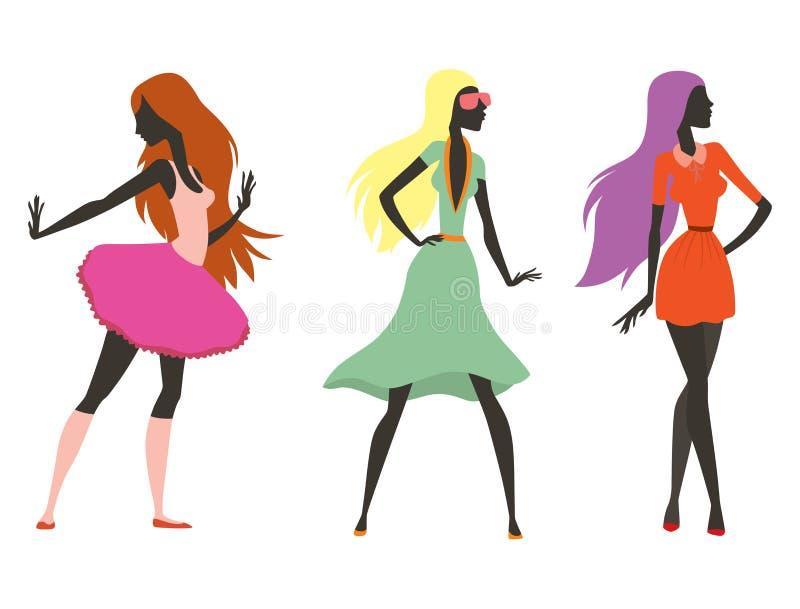 塑造神色女孩剪影俏丽美丽的女孩的妇女女性和,年轻,式样,样式,头发,夫人字符魅力 皇族释放例证