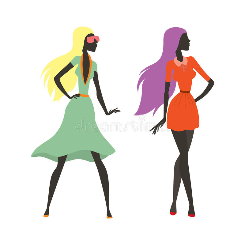 塑造神色女孩剪影俏丽美丽的女孩的妇女女性和,年轻,式样,样式,头发,夫人字符魅力 向量例证