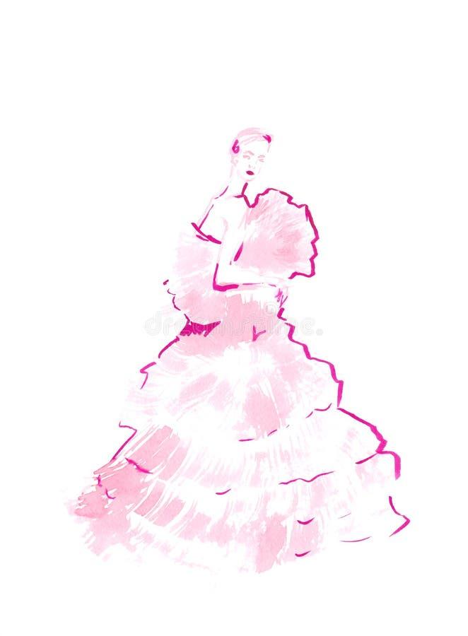 塑造美丽的典雅的少妇的例证一件相当桃红色礼服的 现代时兴的女孩 手工制造例证 库存例证