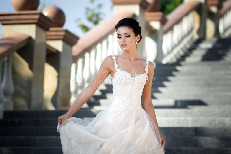 塑造美丽的妇女照片有黑发的在豪华婚礼礼服摆在室外 免版税图库摄影