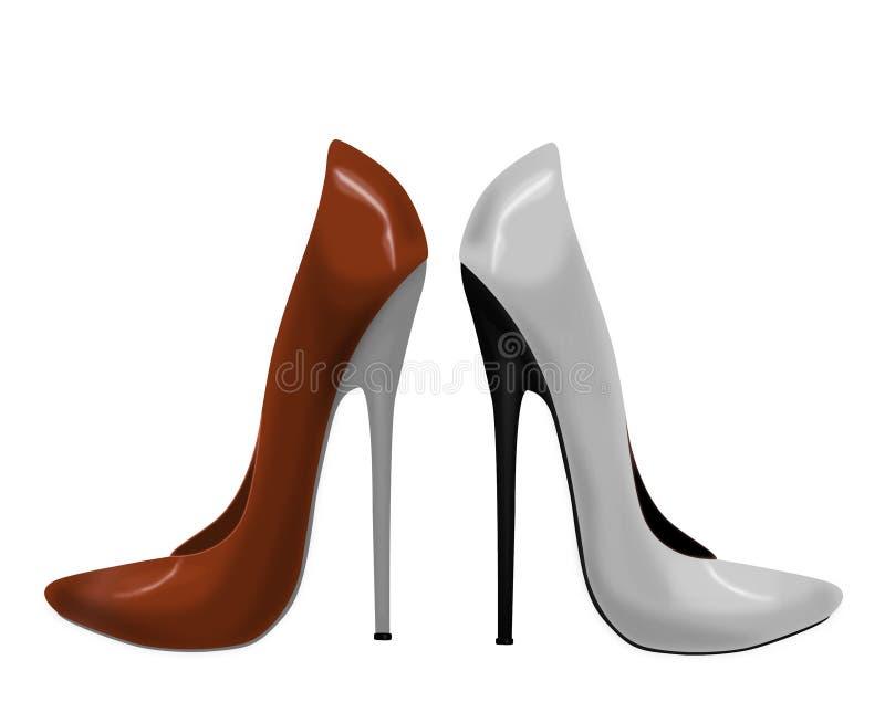 塑造脚跟高红色鞋子短剑白人妇女 向量例证