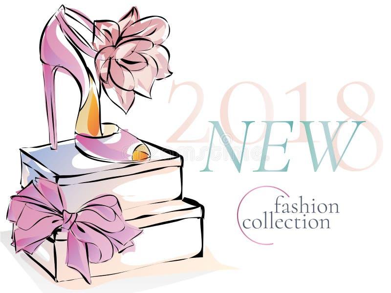 塑造鞋子新的汇集广告电视节目预告横幅,网上与美丽的脚跟的购物社会媒介广告网模板 向量 向量例证