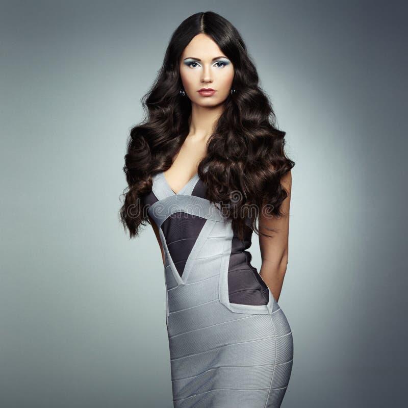 塑造年轻壮观的妇女照片灰色礼服的 库存照片