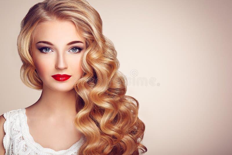 塑造年轻美丽的妇女画象有典雅的发型的 免版税库存照片
