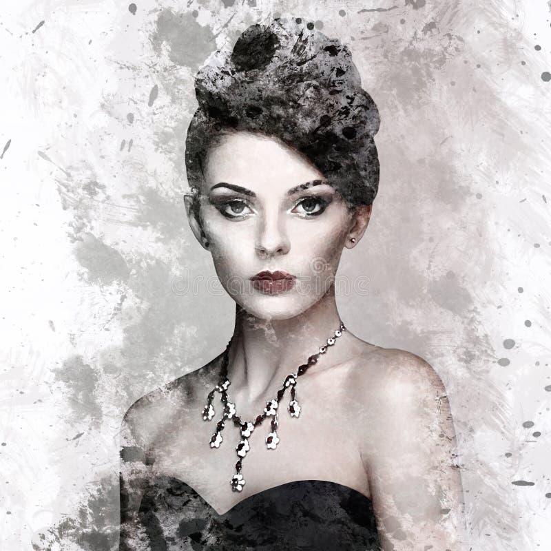 塑造年轻美丽的妇女画象有首饰的 免版税库存图片