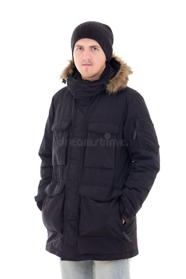 塑造年轻英俊的人画象黑冬天夹克的 免版税库存图片
