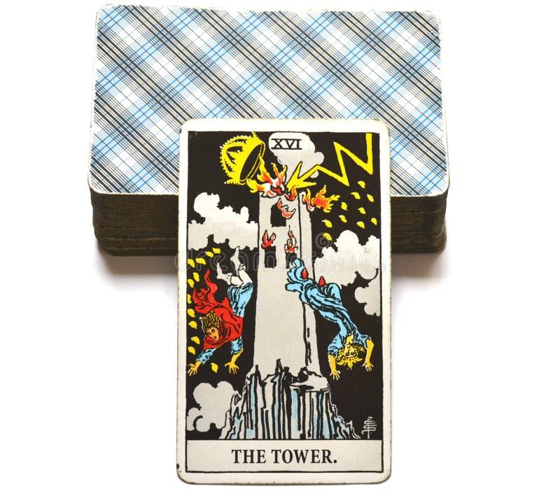 塔占卜用的纸牌突然和意想不到的变动,大变动,破坏,废墟,浩劫 皇族释放例证