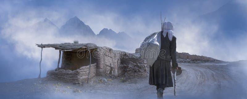 塔吉克妇女的后面 库存照片