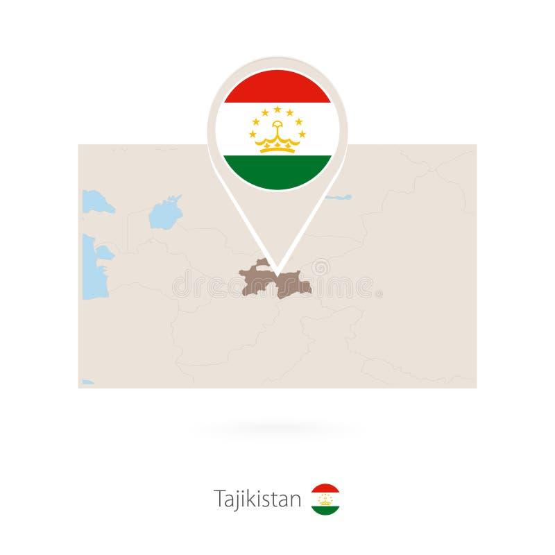 塔吉克斯坦长方形地图与塔吉克斯坦别针象的  向量例证