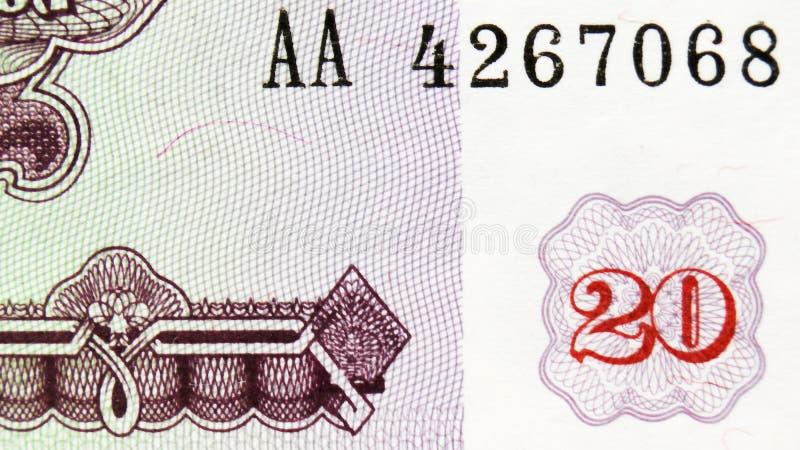 塔吉克20卢布纸币收藏名义价值宏观纸币碎片 免版税图库摄影