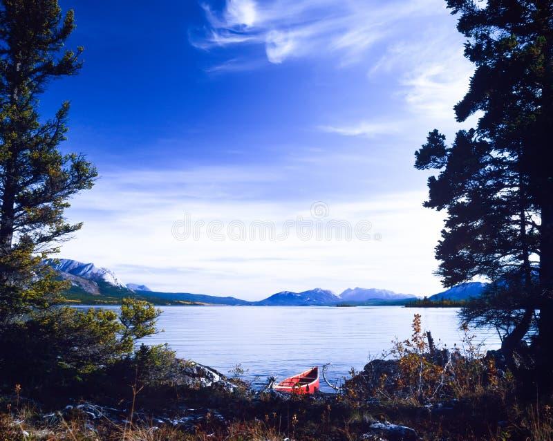 塔吉什湖育空加拿大红色独木舟原野旅行 免版税库存图片