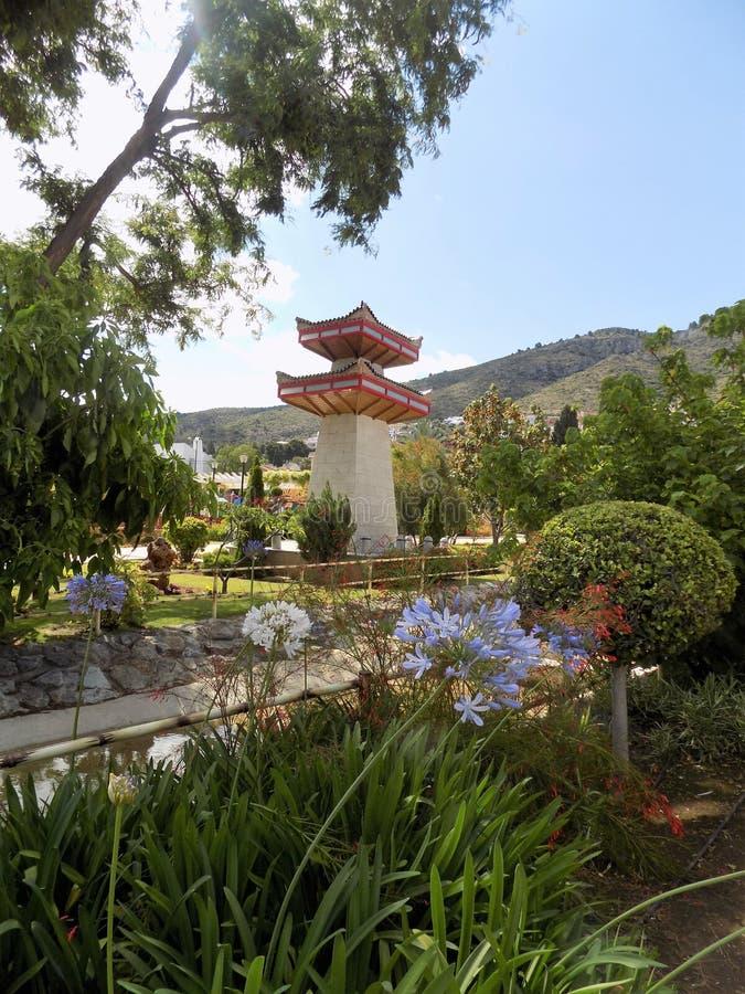 塔在东方公园Alhaurin de la托尔马拉加 免版税库存图片