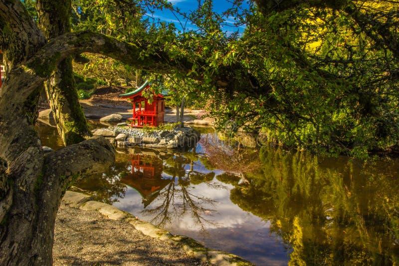 塔在池塘 库存图片