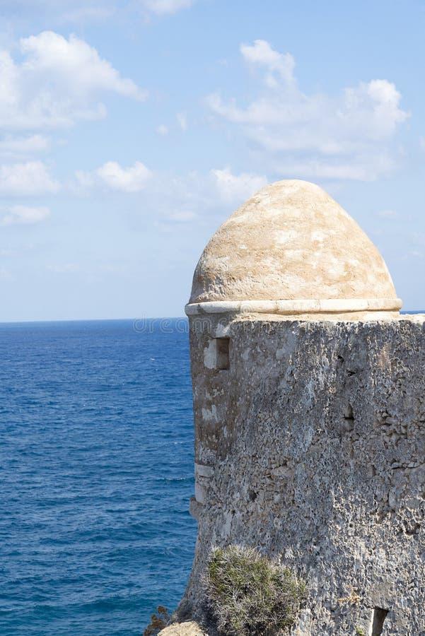 塔在罗希姆诺Fortezza  Fortezza是市的城堡罗希姆诺在克利特,希腊 免版税库存照片