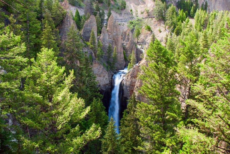 塔在黄石国家公园,怀俄明,美国落 免版税库存照片