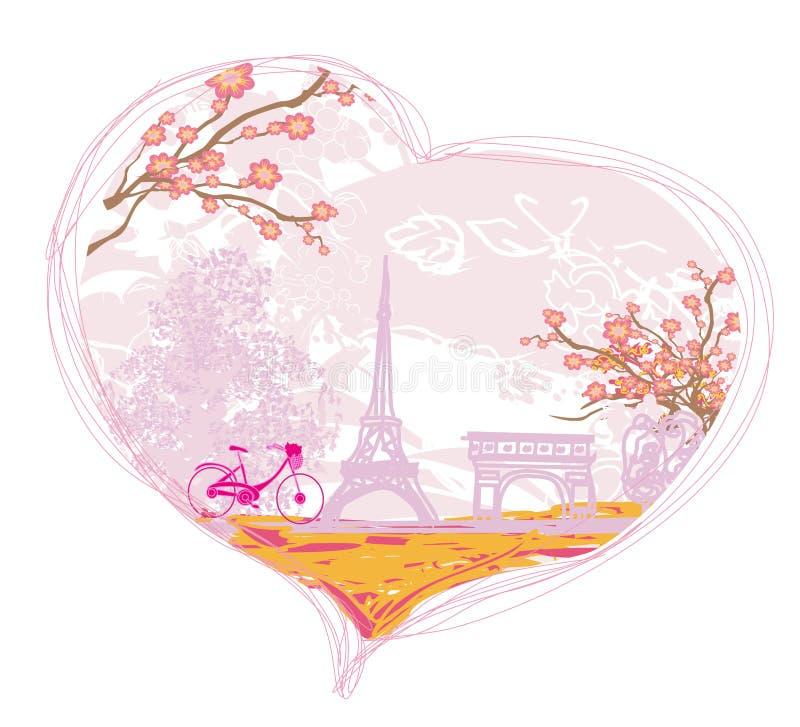 塔埃菲尔和自行车 向量例证