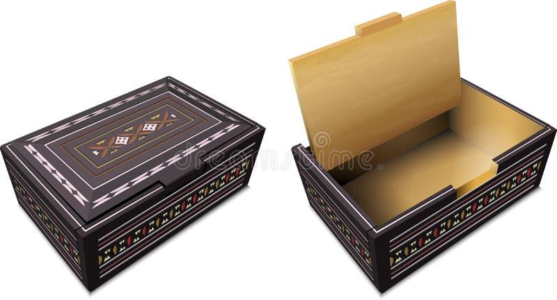 从塔娜Toraja,南苏拉威西岛,印度尼西亚的纪念品箱子 向量例证