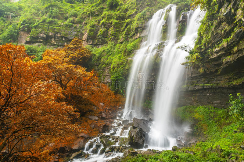 塔德TaKet瀑布, A大瀑布在Bolaven高原的秋天,禁令Nung肺,巴色,老挝深森林里 图库摄影