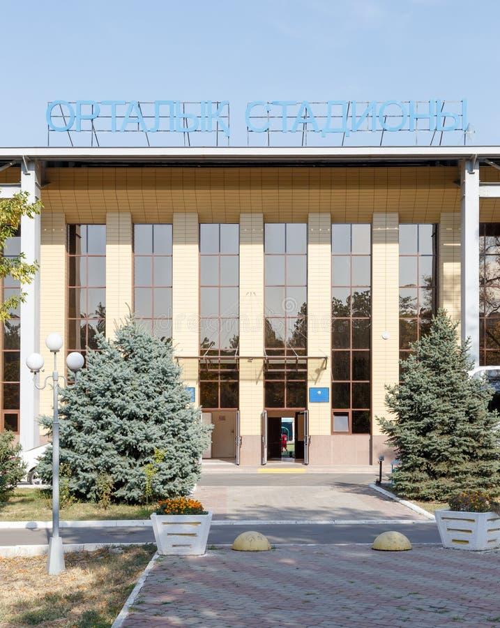 塔拉兹,哈萨克斯坦- 2016年8月14日:城市的中央体育场 图库摄影