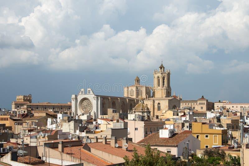 塔拉贡纳大教堂,西班牙看法从Praetorium塔的 免版税库存照片