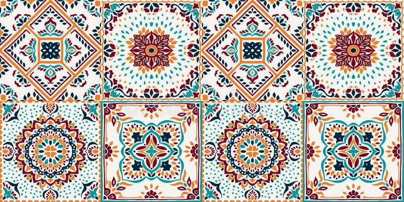 塔拉韦拉样式 印第安补缀品 Azulejos葡萄牙 土耳其装饰品 摩洛哥瓦片马赛克 皇族释放例证