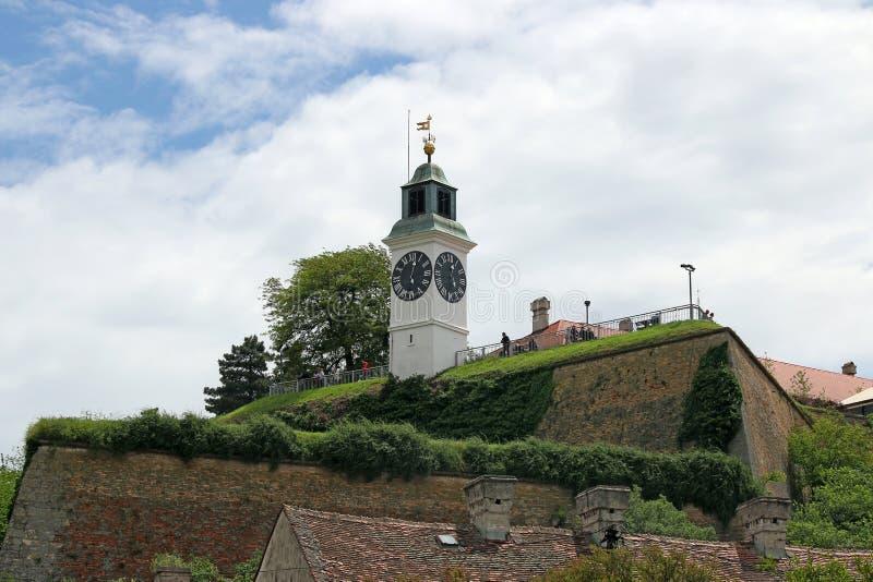 塔时钟彼得罗瓦拉丁堡垒 库存图片