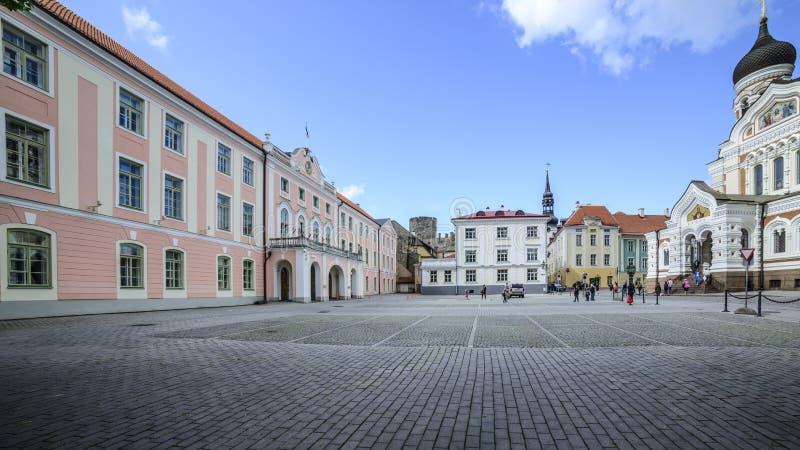 塔林爱沙尼亚,欧洲,城堡正方形 图库摄影