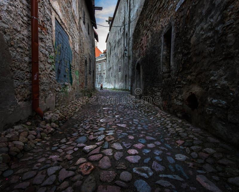 塔林老镇的街道  爱沙尼亚 免版税库存图片