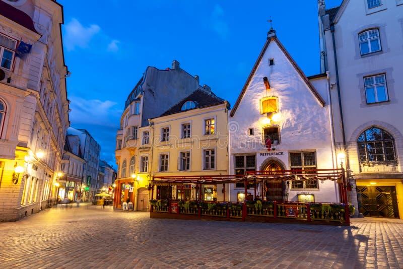 塔林老镇,爱沙尼亚夜街道  免版税库存图片
