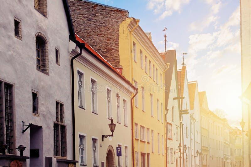 塔林街道在老镇 爱沙尼亚塔林 库存图片