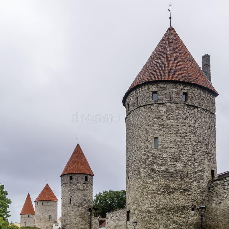 塔林,爱沙尼亚的历史的中心的塔和中世纪墙壁 库存图片